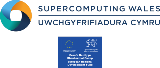 ERDF and Supercomputing Wales logos