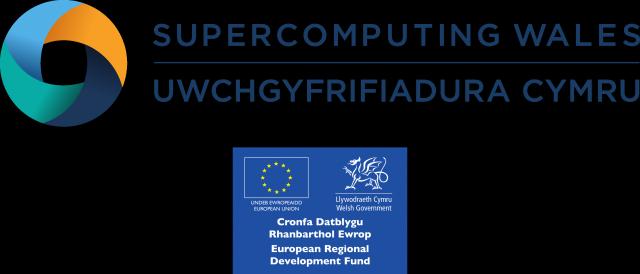 The Supercomputing Wales and ERDF logos