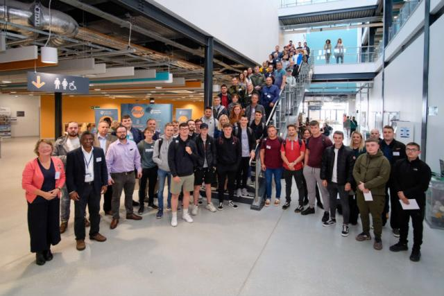 UWTSD's first cohort of Digital Degree Apprentices at the SA1 Swansea Waterfront IQ building