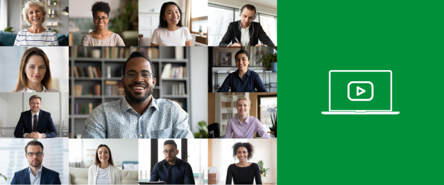 a collage of people on a webinar with a green and white icon on the right side of the image.